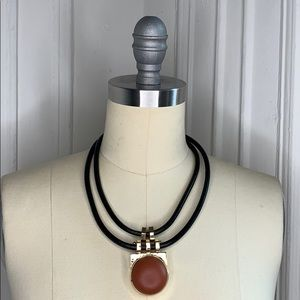Topshop 100% Leather Brown,Black & Gold Necklace